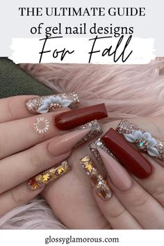 Gold Glitter Nails, Bling Acrylic Nails, Best Acrylic Nails, Fall Gel Nails, Aycrlic Nails, Swag Nails, Grunge Nails, Cute Acrylic Nail Designs, Gel Nail Designs