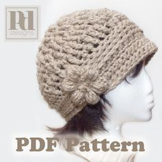 bohemian crochet hat pattern | ... Cloche with flower and braided trim Crochet PDF Pattern on Wanelo