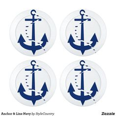 Anchor & Line Navy Pack Of Large Button Covers