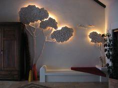 """Object """"tree"""", styrofoam, wood, plaster, paint"""