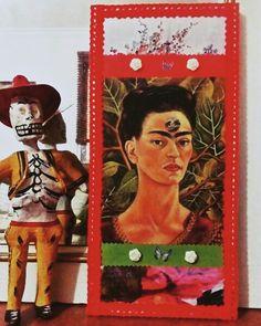 """Cuadro """" Pensando en la muerte"""", Frida Kahlo. Material reciclado. (GloriArte143)"""