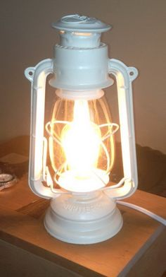In this project we took an old oil burning lantern and turned it into a lamp. We had an old oil burning lantern in our garage. We were curious what it would take to turn it into a lamp. Old Lanterns, Antique Lanterns, Lanterns Decor, Best Desk Lamp, Make A Lamp, Edison Lamp, Kerosene Lamp, Lantern Lamp, Bedroom Lamps