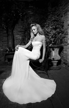 Galia Lahav | Montana - The St-Tropez Cruise Collection  Ivory silk mermaid dress with flesh coloured detail on top, dress and sleeves decorated with rows of pearls