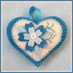 Happy Heart Blue Flower, handmade by me from 100% wool felt.