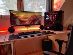 Gaming Room Setup, Pc Setup, Desk Setup, Computer Station, Clean Desk, Pc Desk, Wooden Desk, Modern House Design, Color Themes
