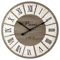 Discover a wide selection of large clocks at Maisons du Monde. Farmhouse Clocks, Rustic Wall Clocks, Wood Clocks, Rustic Walls, Belle Epoque, Big Clocks, Large Clock, Off White Cabinets, Sliding Wood Doors