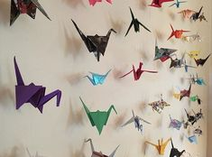 A backdrop I made for a friend's surprise birthday party . . . #madebytheashers #craft #origami #paper #cranes