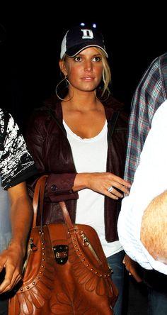 white tee. leather jacket. baseball cap. ♥