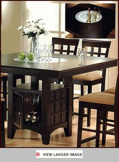 60 Square Dining Table with Crackled Glass Lazy Susan 649