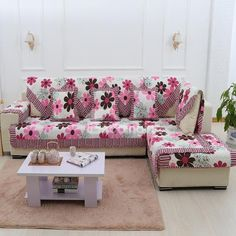 Sofa Coverings Dogs Modern European Set L Shaped Couch Covers In 2019 Cute Pink And Grey Flowers Print Slip Resistant Home Decoration