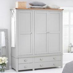 Sandringham Solid Oak Painted Cream/Grey Triple Wardrobe -  - Wardrobe - Mark Harris - Space & Shape - 11