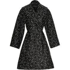 Giambattista Valli Polka Dot Lurex Jacquard Coat ($3,700) ❤ liked on Polyvore featuring outerwear, coats, giambattista valli coat, polka dot coat, jacquard coat, giambattista valli and a-line coat