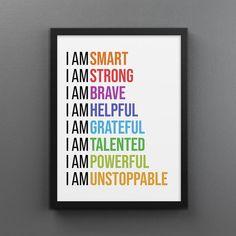 I Am Affirmations (Colorful) - 18×24