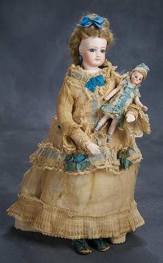 """Petite All-Original French Bisque Poupee with Gesland Deposed Body, 14"""" (36 cm.) Theriault's Antique Doll Auctions"""