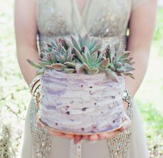 Bohemian wedding cake with succulents