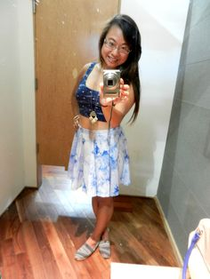 A summer selfie full of fun filled flare! #urban #urbanoutfitters #croptop #fashion #selfie #style #flare #toms #skaterskirt #smile
