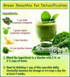 Green Smoothie for Detox --  Who loves smoothies? This great recipe can help you with your weight loss and detox goals. Have some today and share it with your friends too!