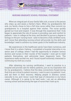 a great nursing personal statement example for nursing school nursing graduate school personal statement sample