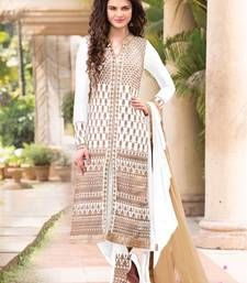 Buy White Color Zari Embroidered Georgette Semi-Stitched Straight Long Salwar Suit dress-material online