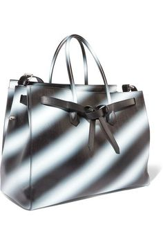 Off-White - Extra Large Printed Textured-leather Tote - Black - one size