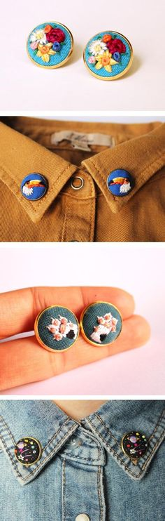 Hand Embroidery Baobap embroidered collar pins - Artist İrem Yazıcı of Baobap creates wearable art, embroidering tiny collar pins with flowers, animals, and outer space. A bit of flair never hurt anyone! Embroidery Designs, Hand Embroidery Patterns, Diy Embroidery, Cross Stitch Embroidery, Embroidery Digitizing, Knitting Patterns, Sewing Patterns, Embroidery Books, Chinese Embroidery