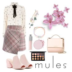 """Mules"" by bileee on Polyvore featuring Warehouse, Chicwish, Christian Dior, Cara, Venessa Arizaga, MAC Cosmetics and Givenchy"