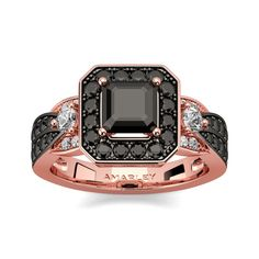 #Amarley Rose Gold Sterling Silver 0.75 CT. Asscher Cut Black CZ Cubic Zirconia Halo Ring. Priced at $79.95 - Subject to change depending on the supplier. Was $175.
