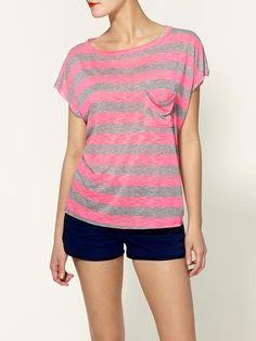 slouchy pocket striped tee