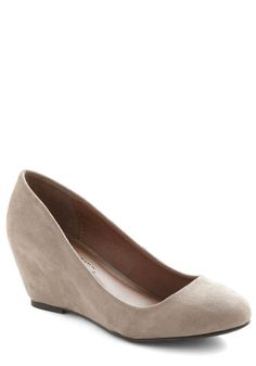 Smooth Transition Wedge, #ModCloth $32.99 they have all sizes the height is 3.25 which would be good.