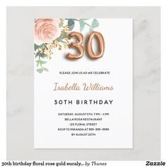 30th birthday floral rose gold eucalyptus greenery invitation postcard