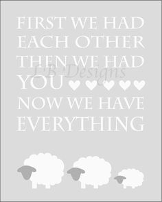 Gray and White Sheep Gender Neutral Nursery Quote by LJBrodock, $10.00