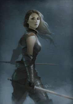 Female dual wielding fighter. Fantasy