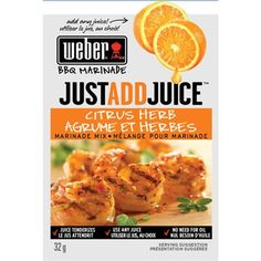 Pack) Weber Just Add Juice Citrus Herb Marinade Mix, oz Bbq Marinade, Weber Bbq, Orange Juice, The Fresh, Seafood, Tasty, Herbs, Meat, Vegetables