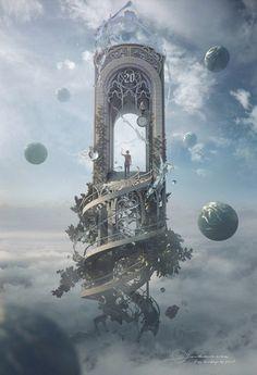 """Fantasy Artwork: """"Knocking On Heaven's Door"""" by Jie Ma Fantasy Magic, Fantasy World, Fantasy Fairies, Dream Fantasy, Fantasy Castle, High Fantasy, Anime Fantasy, Fantasy Artwork, Digital Art Fantasy"""