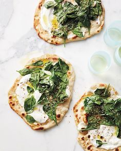 "Asparagus recipes! Rhubarb recipes! Fresh English peas! Salmon with peas! Isn't every cook excited about spring and the produce it brings?! Our test kitchen certainly is. Here are the recipes they are making now. Spinach-and-Yogurt FlatbreadsSarah Carey, editorial director for food, loves this recipe: ""It couldn't be simpler and the dukka, an Egyptian spice blend that's sprinkled on top, brings it to another level."""