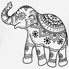 Indian elephant with indian decorations and patterns., Elephant Women's V-Neck T-Shirt - white Indian elephant with indian decorations and patterns. Indian Elephant Art, Elephant Outline, Elephant Pattern, Mandala Elephant, Elephant Design, White Elephant, Elephant Elephant, Elephant Shirt, Mandala Coloring