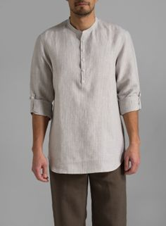 Linen Men Roll-Up Sleeve Shirt