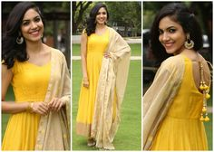 Ritu Varma In Anarkali suit Indian Attire, Indian Wear, Indian Dresses, Indian Outfits, Desi Clothes, Indian Clothes, Yellow Suit, Salwar Designs, Swing Skirt