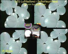 15 selbst leuchtende LED Luftballons in weiß, Hochzeit, Party Fest Deko Ballons | eBay
