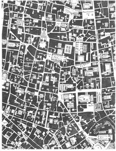 Giambattista Nolli's map of Rome in the 18th century; the public spaces of the city.  thinking of making our scheme an urban scheme, and the circulation/special spaces are the green areas... solid/void