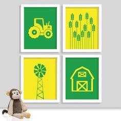 my baby girl Farm Nursery Prints - John Deere Nursery Print - Tractor Print - Barn Print - Boy Room - Set of Four Prin. John Deere Nursery, John Deere Bedroom, Tractor Nursery, Tractor Room, Farm Nursery, Nursery Art, Nursery Decor, Themed Nursery, Nursery Themes