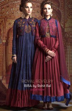 Silk and cotton anarkali suits with jackets by Rohit Bal Muslim Fashion, Ethnic Fashion, Asian Fashion, Modest Fashion, Hijab Fashion, Fashion Outfits, Eid Outfits, Pakistani Outfits, Indian Outfits