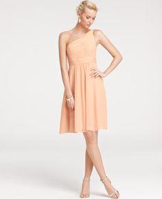 Ann Taylor - AT Weddings Petites - Petite Silk Georgette One Shoulder Bridesmaid Dress - fresh petal, navy and nickel