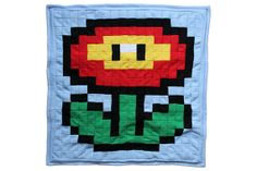 Super Mario flower double sided fleece blanket #Nintendo #8bit #pixelart
