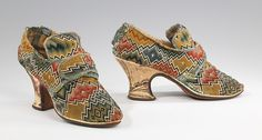 Shoes, Date: 1750–69 Culture: British Medium: wool, linen, silk.   The printed silk heel is extremely unusual, as printed silks were not common and practically never used for footwear.