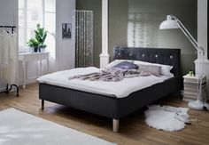 Pat tapitat cu piele ecologica Cristallo Black #homedecor #inspiration #interiodesign #black #bedroom #decoration Upholstered Beds, Cozy Bedroom, Mattress, New Homes, Furniture, Design, Home Decor, Decorating Ideas, Environment