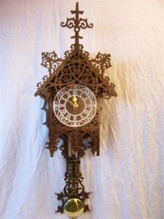Fretwork Pendulum Clock Made Of Walnut