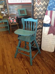 High chair done in American Paint Company Beach Glass distressed over Lincoln's Hat.