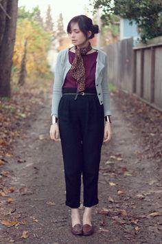 H&M Scarf, H&M Blazer, Gap Shirt, Nordstroms Rose Gold Cuffs, Vintage Trousers, Vintage Loafers