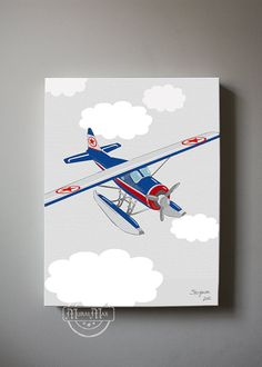 Airplane Boys wall art Airplane Canvas Art Boys by MuralMAX